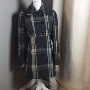 American rag cie wool blend check coat